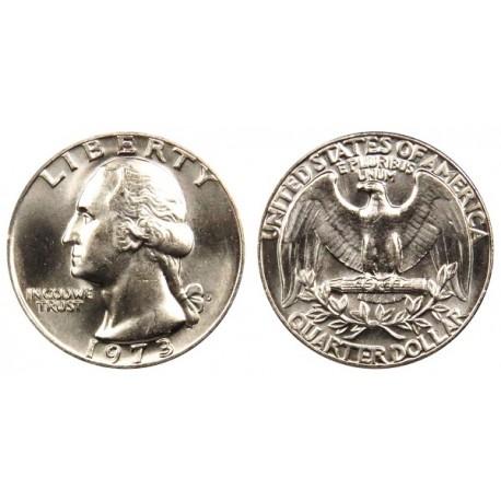 سکه 25 سنت - کوارتر - نیکل مس - تصویر جرج واشنگتن - آمریکا 1973 غیر بانکی
