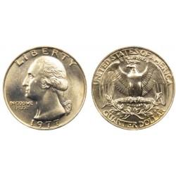 سکه 25 سنت - کوارتر - نیکل مس - تصویر جرج واشنگتن - آمریکا 1977 غیر بانکی
