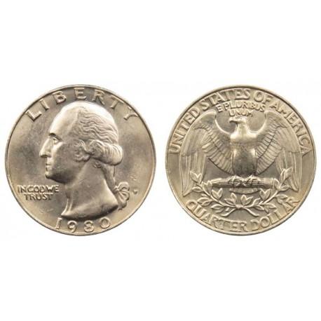 سکه 25 سنت - کوارتر - نیکل مس - تصویر جرج واشنگتن - آمریکا 1980 غیر بانکی