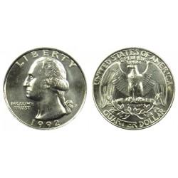 سکه 25 سنت - کوارتر - نیکل مس - تصویر جرج واشنگتن - آمریکا 1992 غیر بانکی