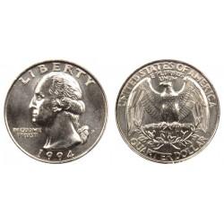 سکه 25 سنت - کوارتر - نیکل مس - تصویر جرج واشنگتن - آمریکا 1994 غیر بانکی
