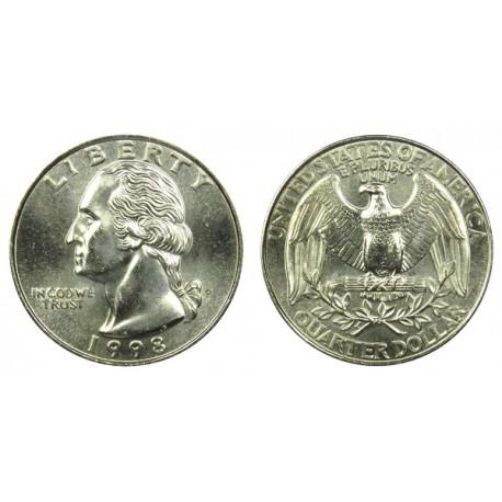 سکه 25 سنت - کوارتر - نیکل مس - تصویر جرج واشنگتن - آمریکا 1998 غیر بانکی