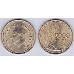 سکه 5000 لیر - نیکل برنج - ترکیه 1994 غیر بانکی