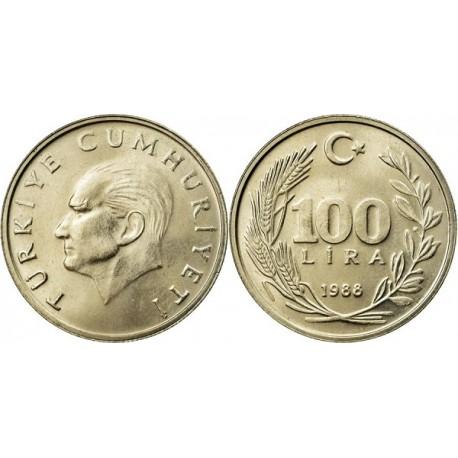 سکه 100 لیر - نیکل برنج - ترکیه 1988 غیر بانکی