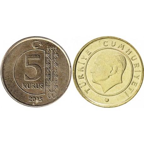 سکه 5 کروز - نیکل مس - ترکیه 2015 غیر بانکی
