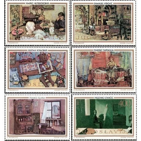 6 عدد تمبر تابلو نقاشی  - یوگوسلاوی 1973