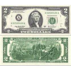 اسکناس 2 دلار - آمریکا 2003 سری A بوستون - مهر سبز