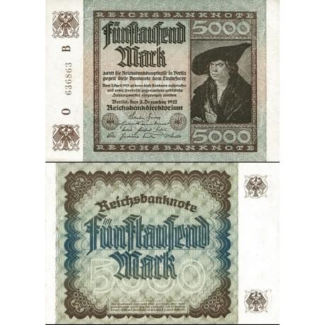 اسکناس 5000 مارک - رایش بانک - رایش آلمان 1922 فیلیگران مطابق توضیحات - 99%