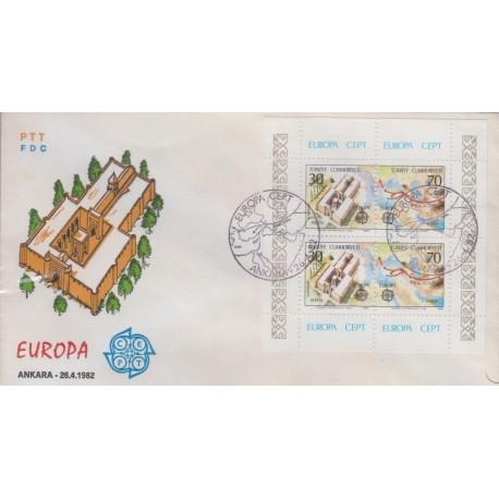 پاکت مهر روز تمبر مشترک اروپا - Europa Cept - نقشه ایران - ترکیه 1982