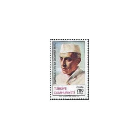 1 عدد تمبر صدمین سالروز تولد جواهر لعل نهرو - دولتمرد هندی - ترکیه 1989