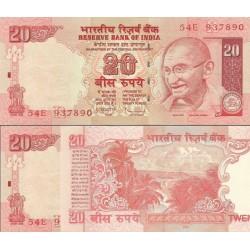 اسکناس 20 روپیه - هندوستان 2010 با حرف سر لوحه بدون سمبل جدید روپیه