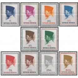 10 عدد تمبر سری پستی - پرزیدنت سوکارنو - اندونزی 1964 قیمت 3.3 دلار