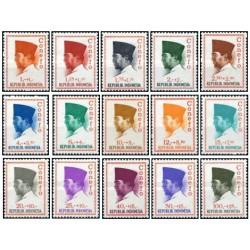 15 عدد تمبر سری پستی - پرزیدنت سوکارنو - اندونزی 1965 قیمت 4.5 دلار