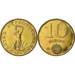 سکه 10 فورینت - مس نیکل آلومینیم -  مجارستان 1987 غیر بانکی