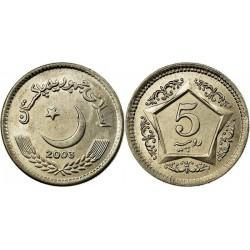 سکه 5 روپیه - مس نیکل -  پاکستان 2003 غیر بانکی