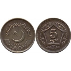 سکه 5 روپیه - مس نیکل -  پاکستان 2002 غیر بانکی