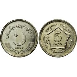 سکه 5 روپیه - مس نیکل -  پاکستان 2005 غیر بانکی