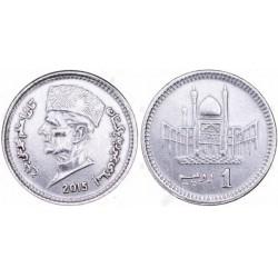 سکه 1 روپیه - آلومینیم -  پاکستان 2014 غیر بانکی