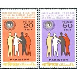 2 عدد تمبر سال بین المللی برابری نژادی - پاکستان 1971