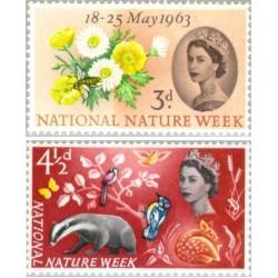2 عدد تمبر هفته ملی طبیعت - انگلیس  1963