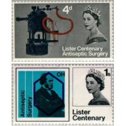 2 عدد تمبر صدمین سال جراحی ضدعفونی توسط جوزف لیستر - انگلیس 1965