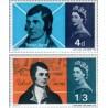 2 عدد تمبر یادبود اسکات بارن - شاعر اسکاتلندی - انگلیس 1966