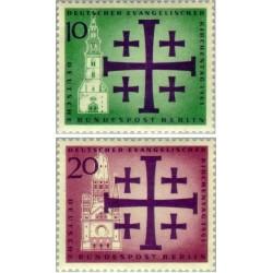 2 عدد تمبر روز کلیسای پروتستان - برلین آلمان 1961
