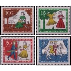 4 عدد تمبر داستانهای دنباله دار - سیندرلا - برلین آلمان 1965