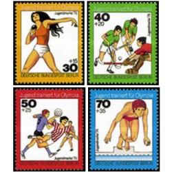 4 عدد تمبر رفاه جوانان - ورزش - برلین آلمان 1976
