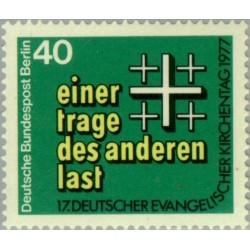 1 عدد تمبر روز کلیسای پروتسات - برلین آلمان 1977