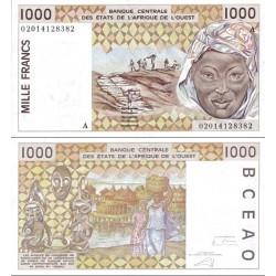 اسکناس 1000 فرانک - آفریقای غربی - نیجر 2002 دو رقم اول سریال سال انتشار سفارشی