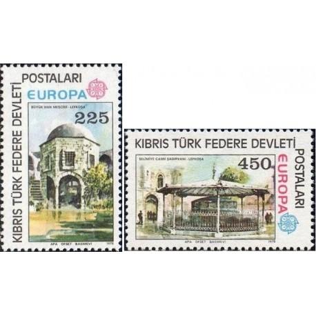 2 عدد تمبر مشترک اروپا - Europa Cept - بناهای تاریخی - قبرس ترکیه 1978