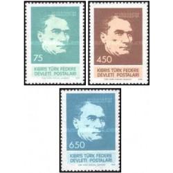 3 عدد تمبر چهلمین سالگرد درگذشت آتاتورک - قبرس ترکیه 1978