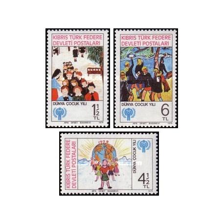 3 عدد تمبر سال بین المللی کودک - قبرس ترکیه 1979