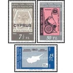3 عدد تمبر یادبود - قبرس ترکیه 1980