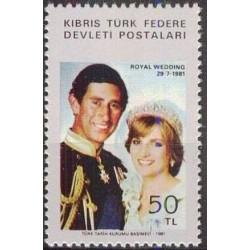 1 عدد تمبر ازدواج سلطنتی - پرنس چارلز و دایانا - قبرس ترکیه 1981