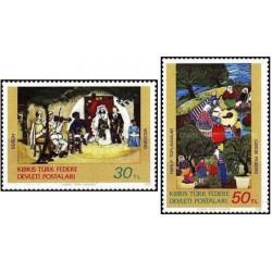 2 عدد تمبر تابلو نقاشی - قبرس ترکیه 1982