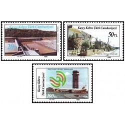 3 عدد تمبر ساختمانها  - قبرس ترکیه 1986