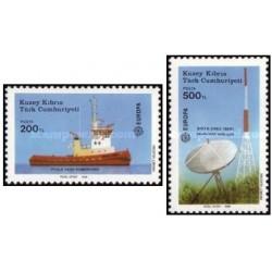2 عدد تمبر مشترک اروپا - Europa Cept - حمل و نقل و ارتباطات - قبرس ترکیه 1988