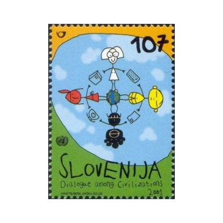 1 عدد تمبر سال گفتگوی تمدنها - اسلوونی 2001
