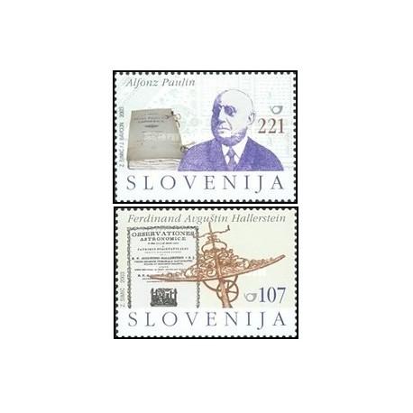 2 عدد تمبر اشخاص مشهور - آلفونسوپائولین - اسلوونی 2003 ارزش روی تمبر 1.7 دلار