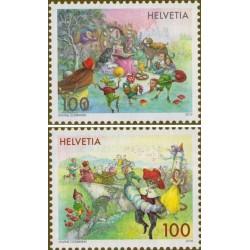 2 عدد تمبر داستانهای دنباله دار - سوئیس 2018  ارزش روی تمبر 2 فرانک