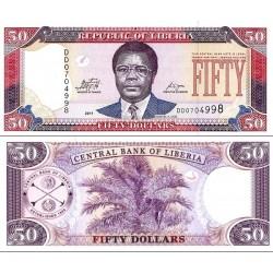 اسکناس 50 دلار - لیبریا 2011 عبارت پشت بانک مرکزی لیبریا - بدون لیبل CBL بالای امضای راست