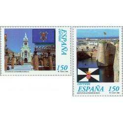 2 عدد تمبر سومین سالگرد اساسنامه خودمختاری سوتا و ملیلا - اسپانیا 1998