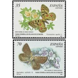 2 عدد تمبر گونه های نادر - پروانه ها  - اسپانیا 2000