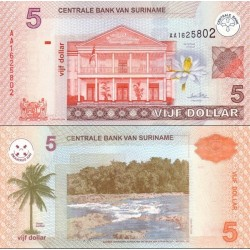 اسکناس 5 دلار - سورینام 2004 تاریخ 1 ژانویه