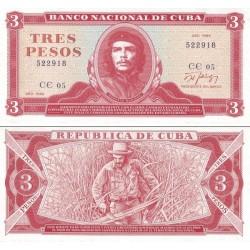 اسکناس 3 پزو - کوبا 1989 با تصویر چه گوارا - سفارشی