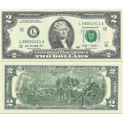 اسکناس 2 دلار - آمریکا 2009 سری L مینیاپولیس - مهر سبز