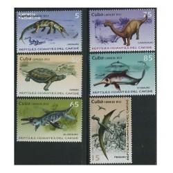 6 عدد تمبر جانوران ماقبل تاریخ - کوبا 2013
