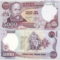 اسکناس 5000 پزو - کلمبیا 1990 تاریخ  01.01.1990